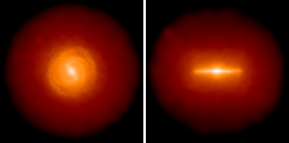 Stellar projected density for the AqC4 simulation (face-on and edge-on view on left- and right right-hand panels, respectively)