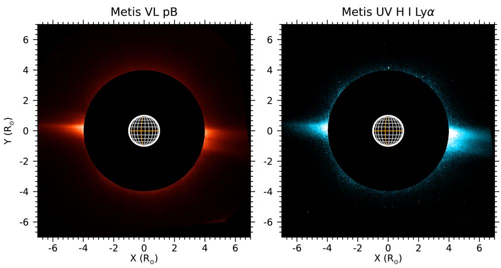 Immagini di Metis in luce visibile polarizzata (sinistra) e nell'ultravioletto (destra) della corona solare